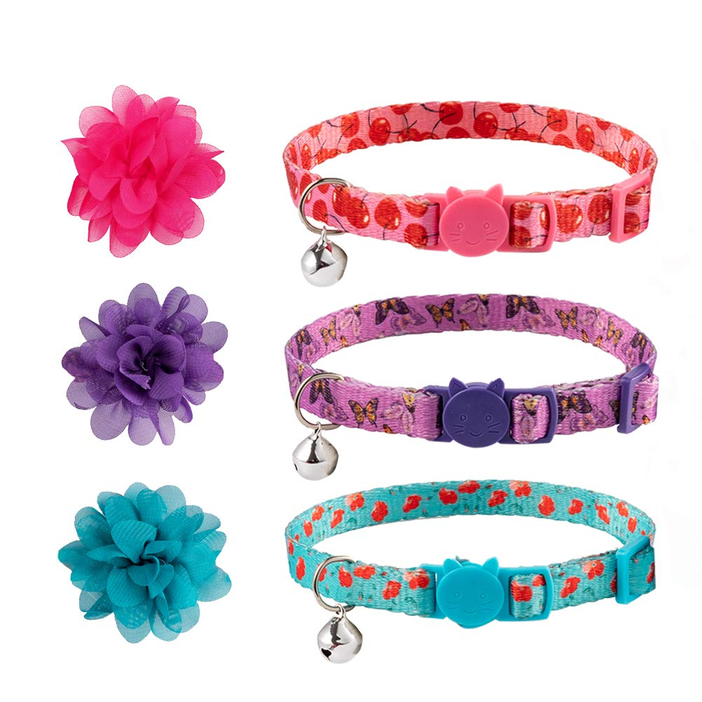 Cat Collar Breakaway with Flower Bowtie 3 Packs – Lovely Spring Floral Pattern Adjustable Breakaway Collars for Cats…