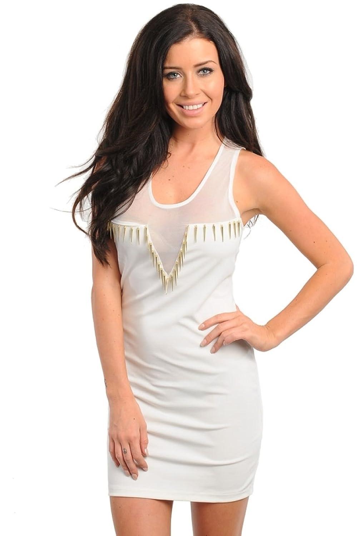2LUV Women's Sheer Yoke Spike Accent Body Con Dress
