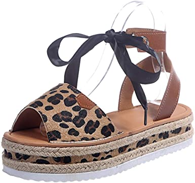 Women Fashion Wedge Leopard Sandals Wide Width Shoes Ladies Summer Fish Mouth Buckle Strap Shoes