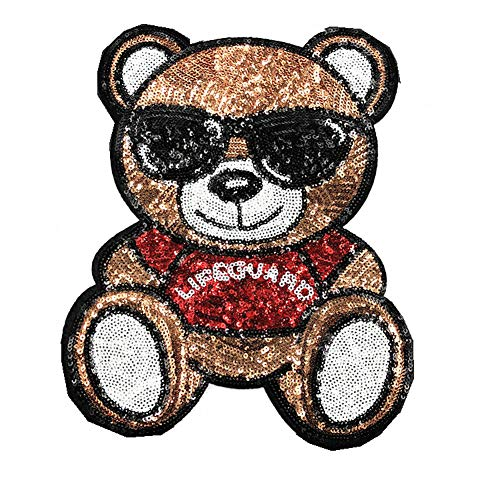 Cartoon Panda Bear Animal Patch Sequin Iron On Patches for Clothes Stripe Fashion Fabric Patch Badge DIY Sticker Jacket (Color 1)
