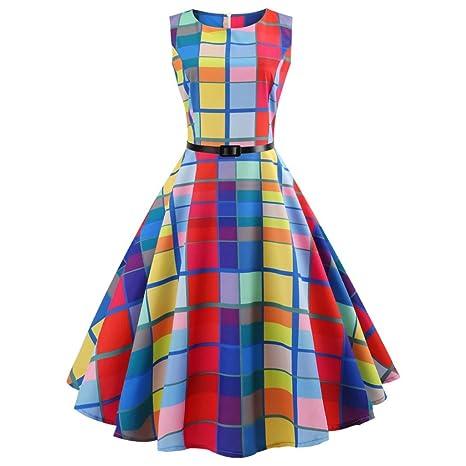 Fami Abito da Ballo Floreale Elegante Senza Maniche Vintage da Donna ( Multicolor a81a3f20402