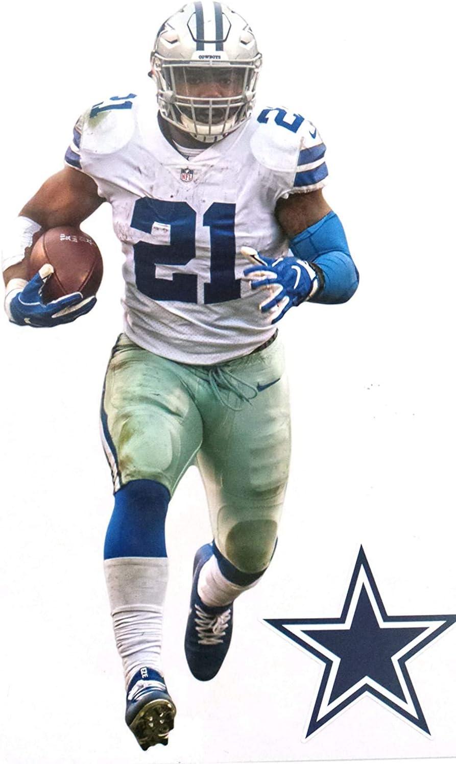 FATHEAD Ezekiel Elliott Mini Graphic + Cowboys Logo Official Vinyl Wall Graphics - This Graphic is 7
