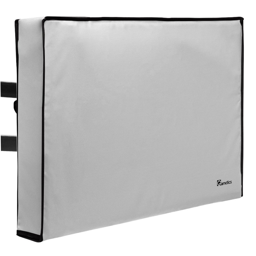 Garnetics Outdoor TV Cover 70''-75'' inch - Universal Weatherproof Protector for Flat Screen TVs - Fits Most TV Mounts and Stands - Grey