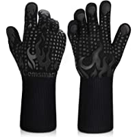 BBQ Gloves, 1472°F Heat Resistant Grilling Gloves Silicone Non-Slip Oven Gloves Long Kitchen Gloves for Barbecue…