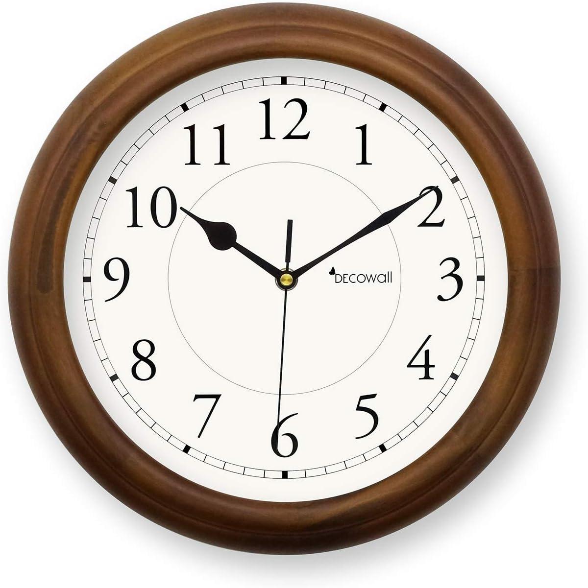 Deco Wall DSH de w32bs, 40bs Reloj de Pared, Madera, silenciosa, plástico, marrón/Blanco, 32cm