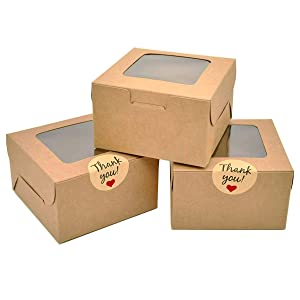 50 Pack Brown Bakery Boxes, Kraft Paper Pastry Boxes with Window (4x4x2.5 Inches) Gift Packaging Boxes for Cookies, Pastries, Mini Cakes, Donut, Pie Slice, Stickers Included