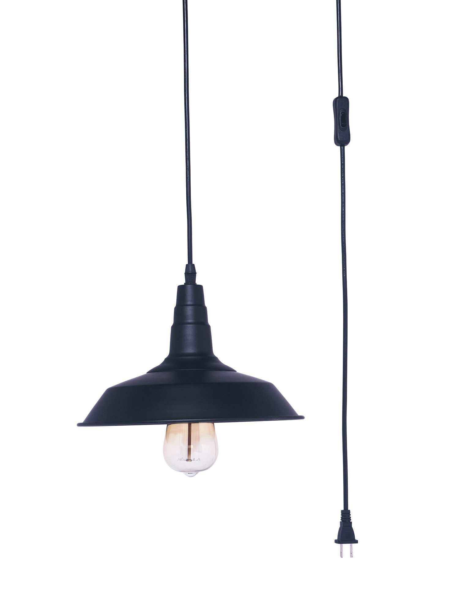 Ivalue Industrial Plug-in Pendant Light Fixture with Switch Cord Metal Black Warehouse Hanging Pendant Lamp E26 Base Type Bulb Not Included(D-Black-Plug in)