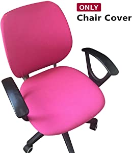 Jiyaru Rotating Armchair Slipcover Removable Stretch Computer Office Chair Cover Rose Red (Only Cover)