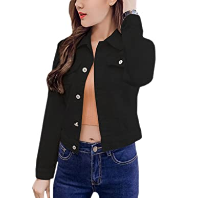 aab43ece8e17eb TRENDY XU Candy-Colored Denim Jacket Womens Slim Short Spring Jacket Tops   Amazon.co.uk  Clothing