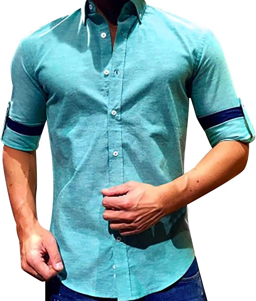 Balakie Summer 3//4 Sleeve Button Front Pocket Blouses Tops Cotton Linen Shirt for Men