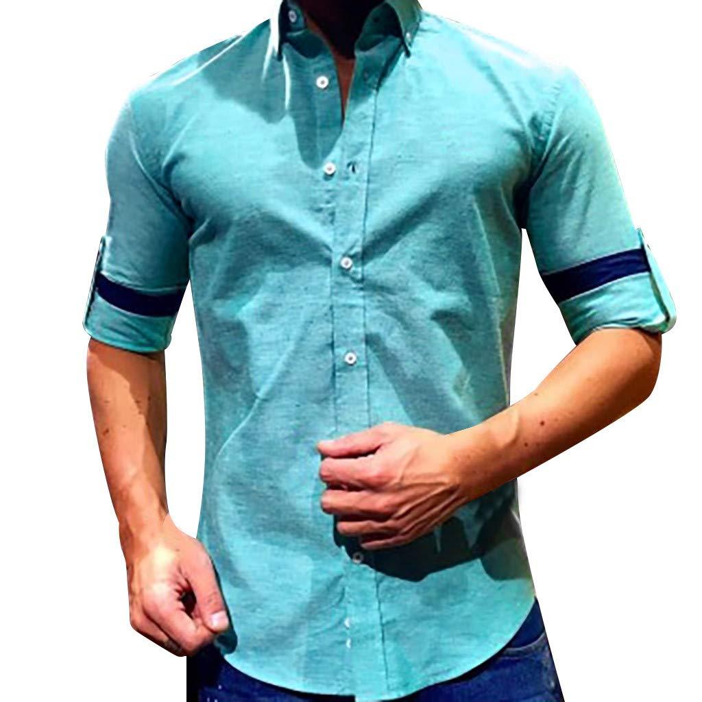 Camisa Holgada de algodón y Lino para Hombre, Manga Larga, con ...
