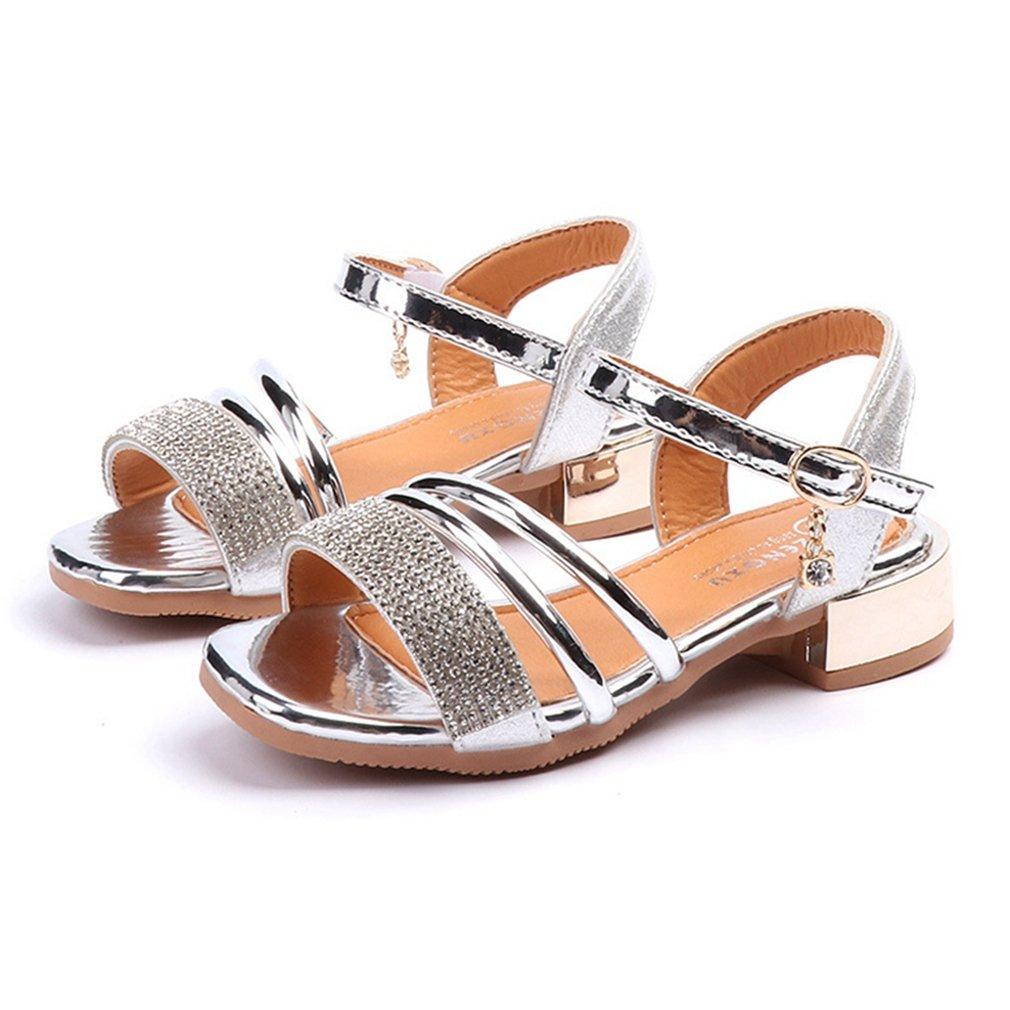 CYBLING Girls' Open Toe Strap Sandals Metallic Summer Low Heel Princess Dress Shoes (Toddler/Little Kid)