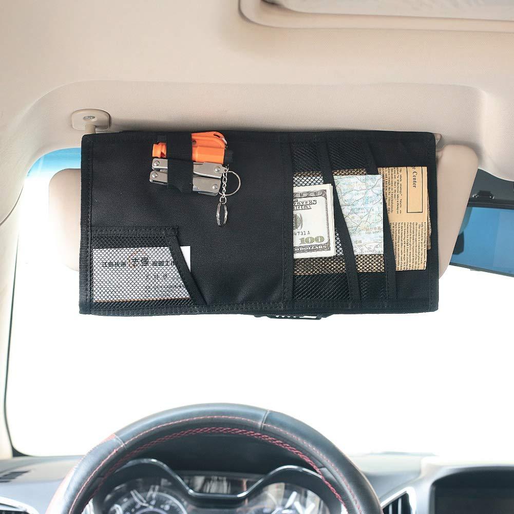 Leezo Multifonction en Nylon De Voiture Pare-Soleil Sac De Rangement Sac Auto Verres Billet Documents Mobile T/él/éphone Organisateur V/éhicule Molle Pare-Soleil Panneau Visi/ère