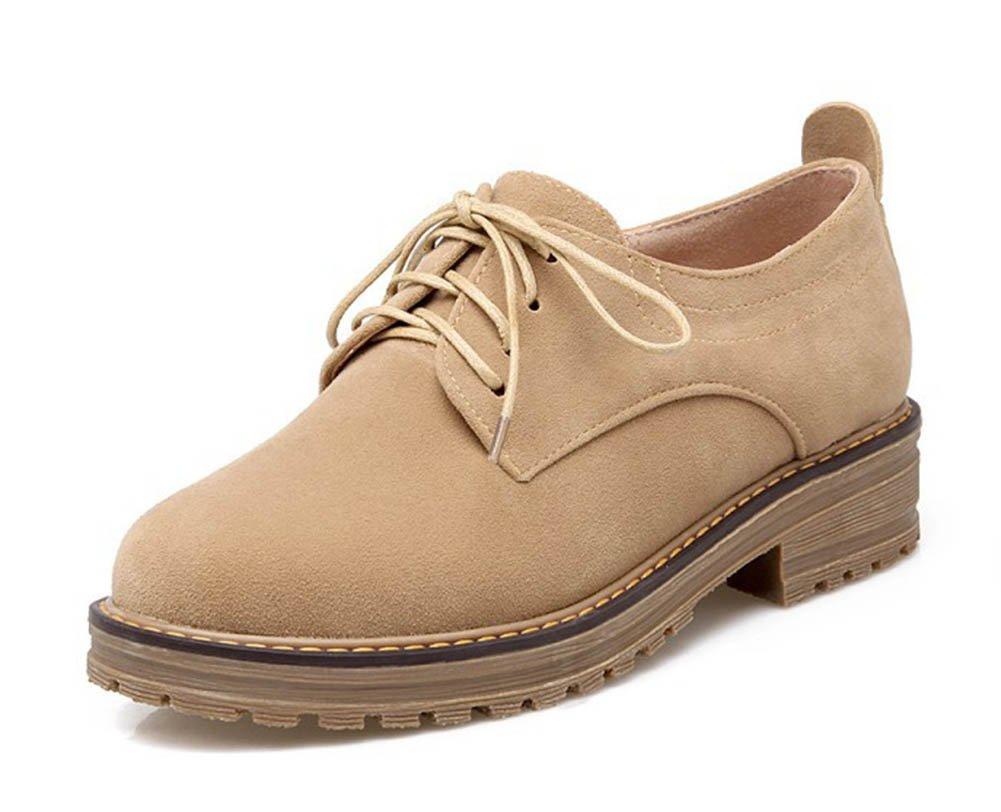 Aisun Women's Casual Simple Round Toe Platform Dress Lace Up Flats Pumps Oxfords Shoes Apricot 4 B(M) US