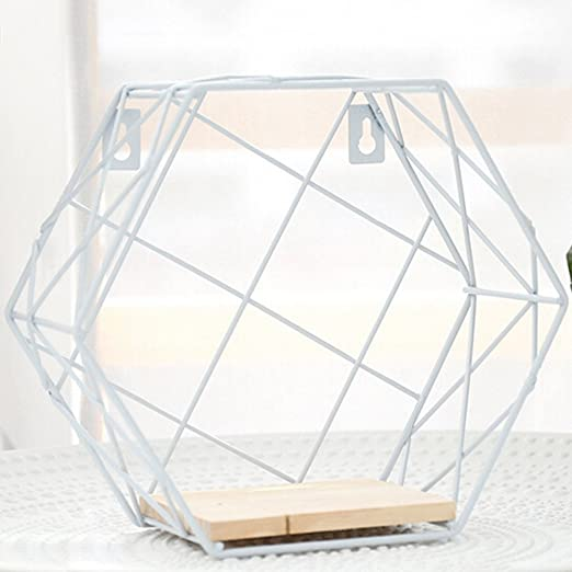 Geometric Hexagon Wall Wire Shelf Storage Display Organizer Holder Rack Shelves