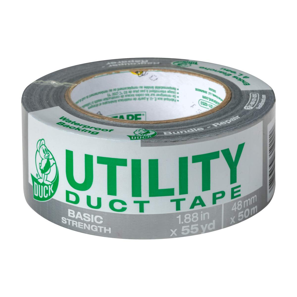 Duck Tape Brand  1118393 Utility Duct Tape Basic Strength, 1-Pack 1.88 Inch x 55 Yard Silver
