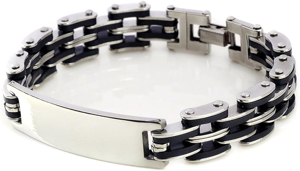 Kedar Stainless Steel Men's Chain Link ID Bracelet Custom Engraving Customized Name ID