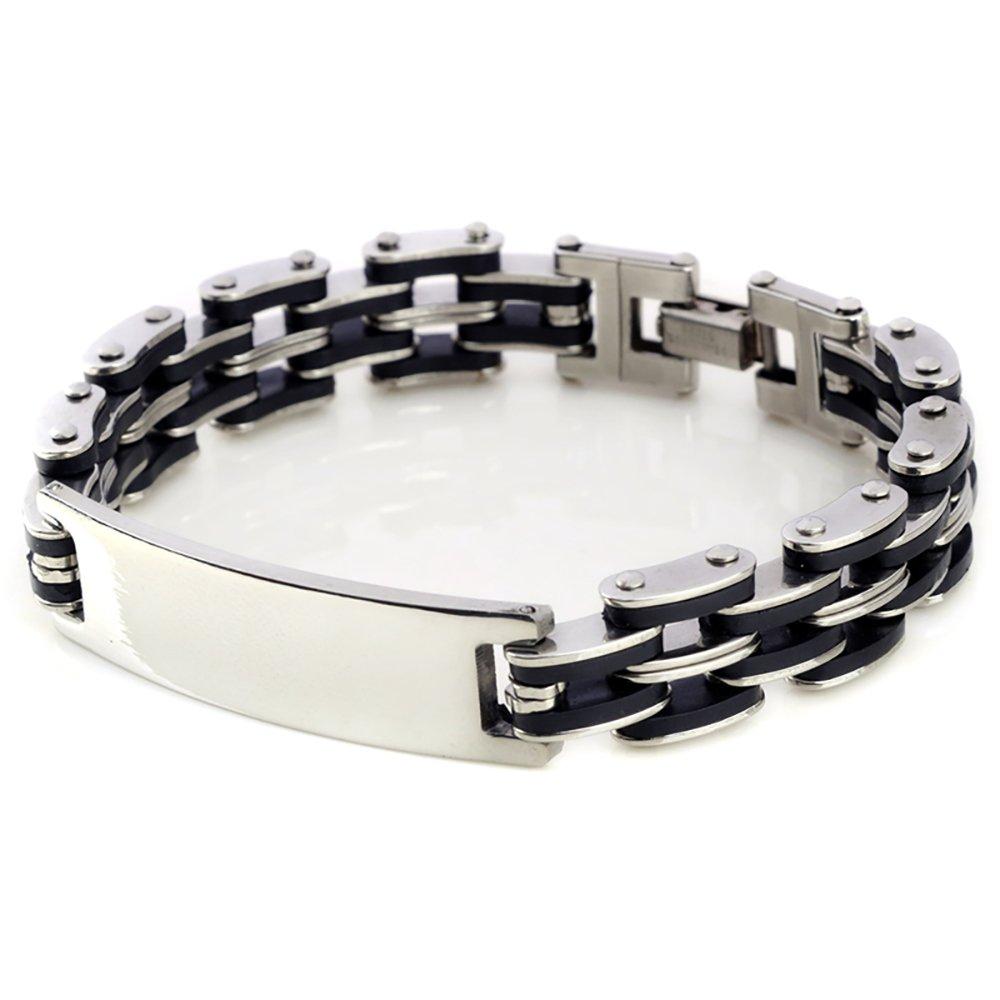 Kedar Stainless Steel Men's Chain Link ID Bracelet Custom Engraving Customized Name ID B3154