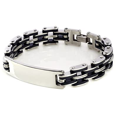 5a3cbff917ca2 Kedar Stainless Steel Men's Chain Link ID Bracelet Custom Engraving  Customized Name ID