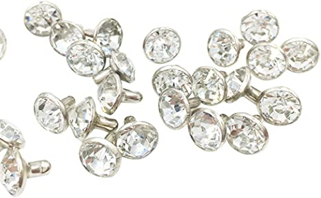 Aquamarine, 8MM 100 Sets Cz Colorful Crystal Rapid Rivets Gold Color Spots Studs Double Cap for DIY Leather-Craft