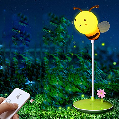 Zehui Desk Lamp Creative Bee Shape Rechargeable LED Lights 3 Dimming Modes Desk Lamp Eye-protection Study Reading Light Green Remote Control Models