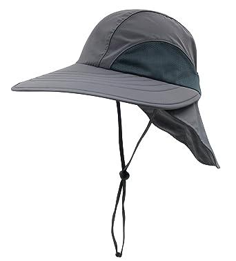 94961050785 Decentron Unisex 4inch Long Brim Flap Hat Sun Hats Safari Outback Hat with Neck  Flap Dark