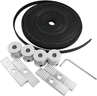 3D Printer Accessories, AFUNTA 5 Meters GT2 Timing Belt & 4 Pcs 20 Teeth Timing Pulleys & 1 Pcs Hexagon Wrench & 4 Pcs Mount Blocks for 3D Printer, Compatible with Reprap / Prusa / MendelMax