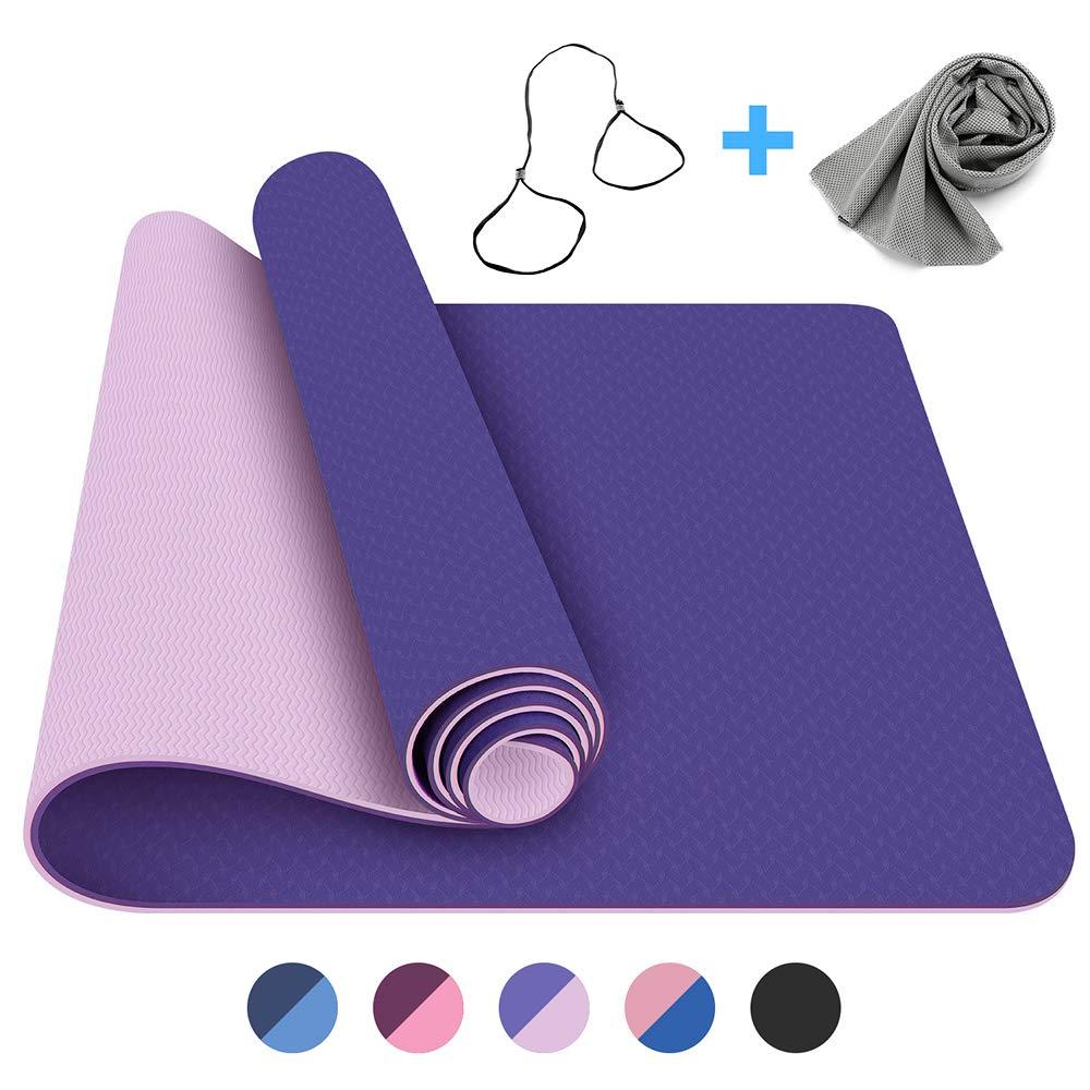 FerDIM Non-Slip All-Purpose Yoga Mat,Eco Friendly Yoga Mats with Carry Straps and Ice Sport Towel for Women,Men- 1/4-Inch TPE Exercise Anti-Tear Workout Mat for Yoga, Bikram, Pilates