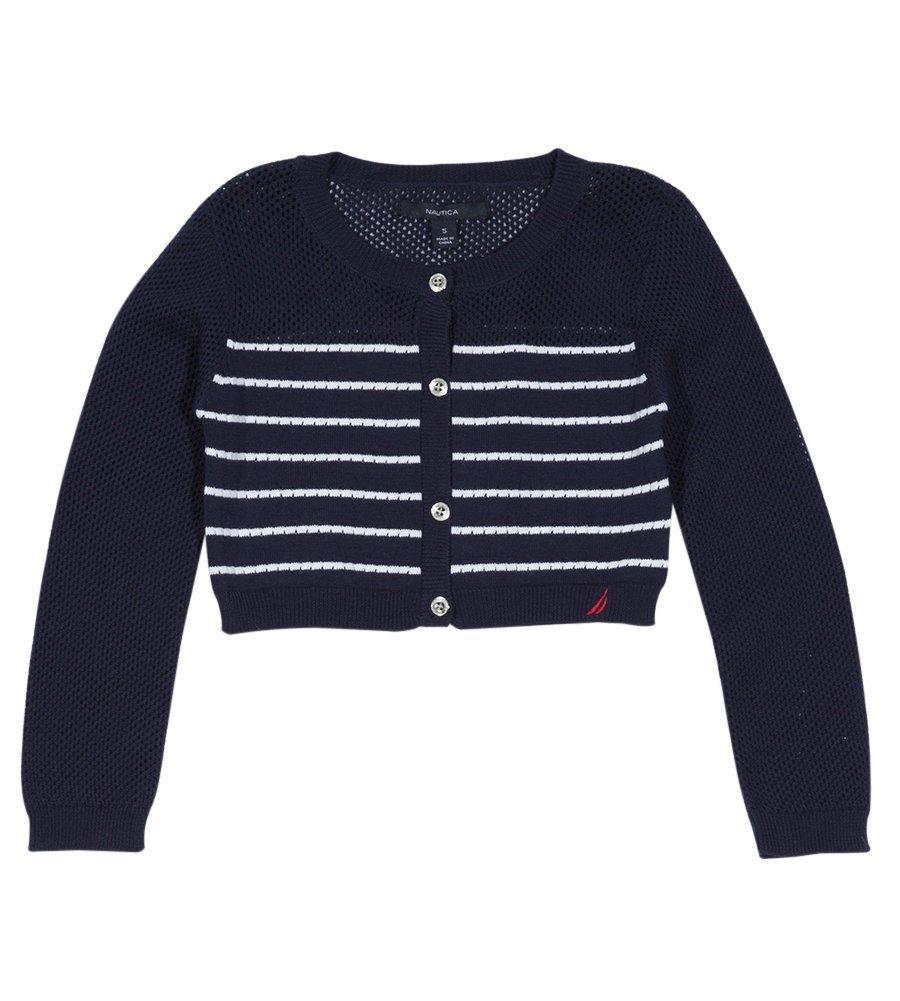 Nautica Toddler Girls' Long Sleeve Fashion Cardigan, Navy Stripe Stitch, 2T