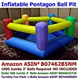My Bouncer Perfect Little Pentagon Ball Pit Popper - Great for Indoor Use - 90'' L x 90'' W x 35'' H w/ Blower Pump (This is not a Bounce House, min 1,000pcs Jumbo 3'' Balls Recommended/Required)