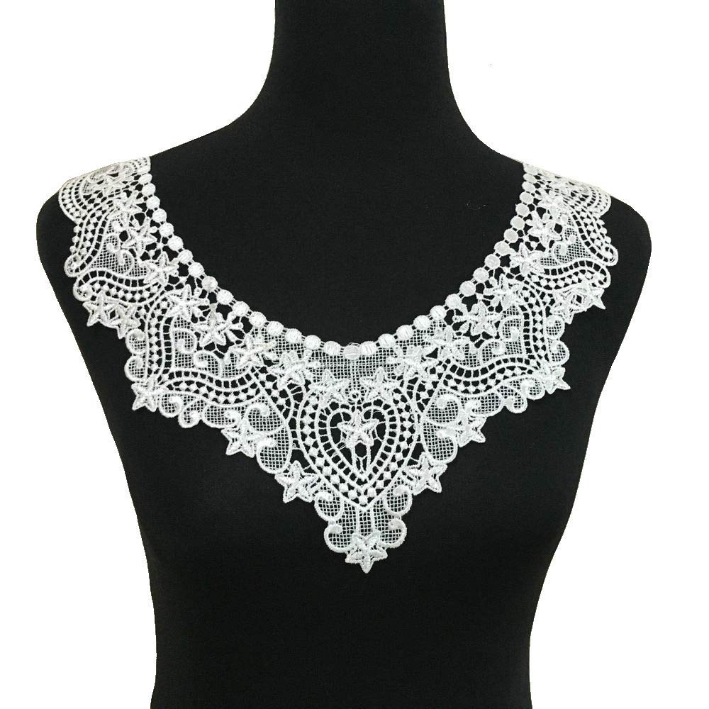 White Embroidered Lace Neckline Collar Floral Brown Leaf Applique Patches Scrapbooking Embossed Sewing (Style A) ZALALAA