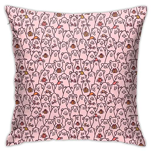 Funny Pigs with Candy Canes Throw Pillow Cases Cushion Cover for Sofa Decorative Home Decorative 18x18 -