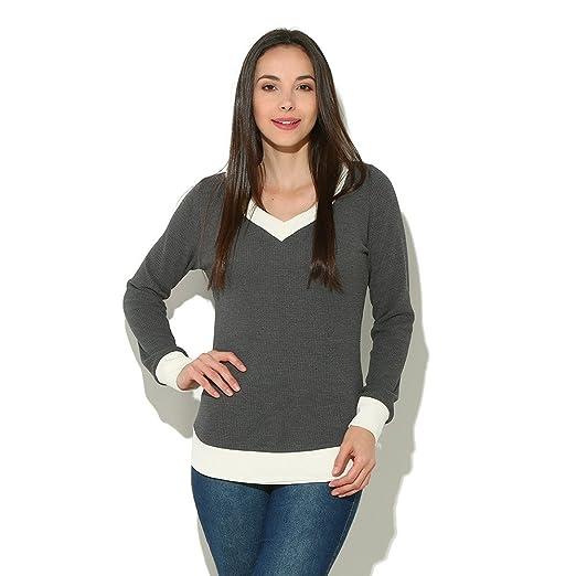 2018 Moda Camisetas Mujeres con Cuello en V Manga Larga Casual Curve Dobladillo suéter Mujeres Tops Ocasionales Sueltas Blusas: Amazon.es: Ropa y accesorios