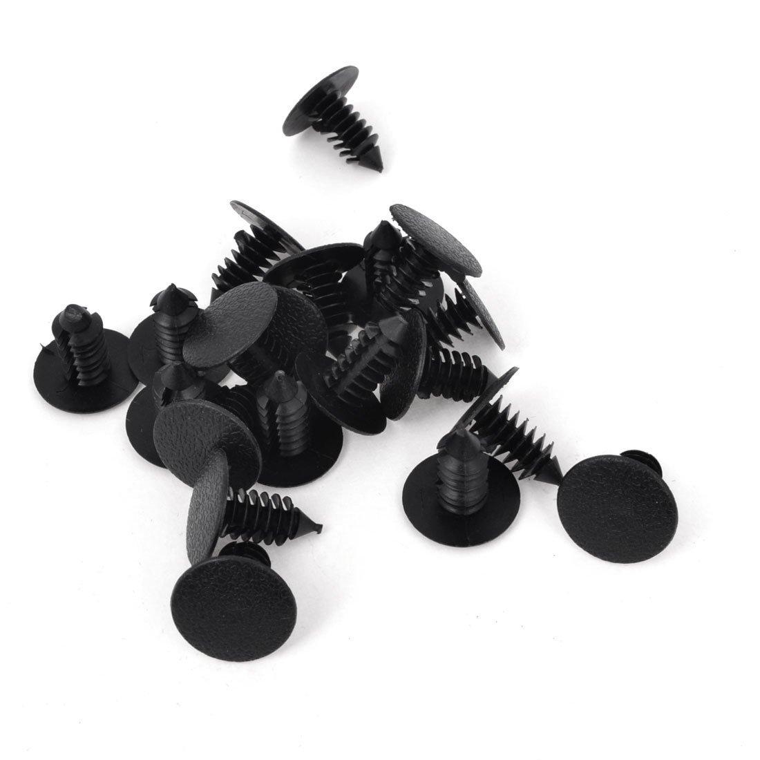 plastico remache Coche 8mm Agujero Plastico Negro Remaches Parachoques Sujetador De Puerta Agarres 20 unidades R SODIAL