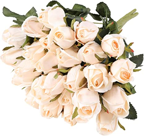 Amazon Com Hawesome 3 Bunches Artificial Flowers Silk Roses Buds Realistic Bouquet Arrangement For Decoration Wedding Party Centerpieces Champagne Kitchen Dining