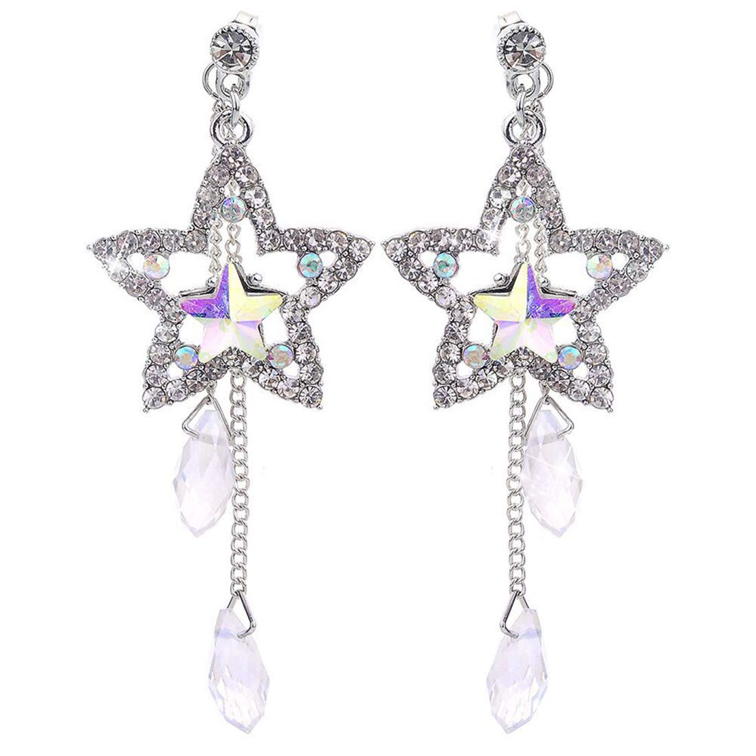 VWH Crystal Long Chain Earrings Pentagram Earrings Set for Women Engagement Wedding Jewelry Gifts