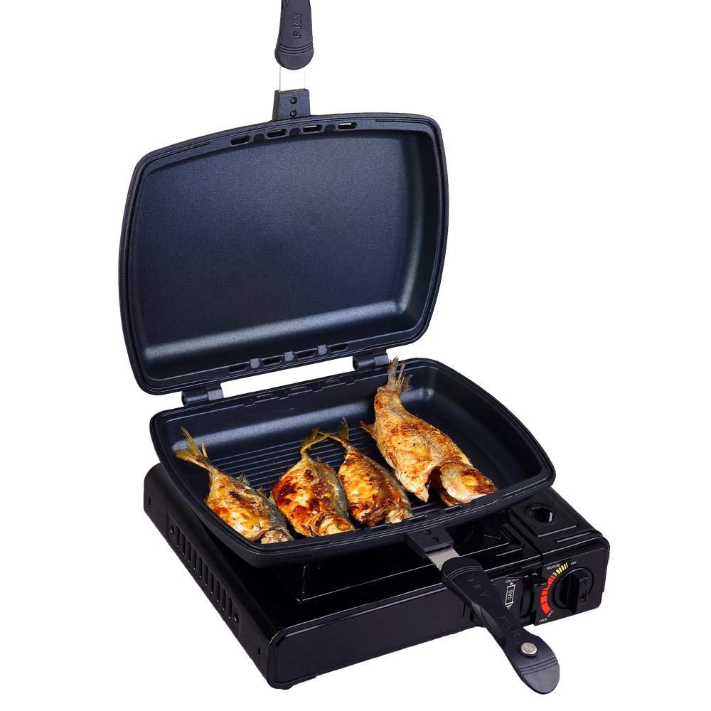 YONATA Double Sided Portable BBQ Grill Pan,Separate Detachable Double Pan Nonstick Barbecue Plate For Indoor and Outdoor Cooked Chicken,Fish,Egg by YONATA (Image #8)