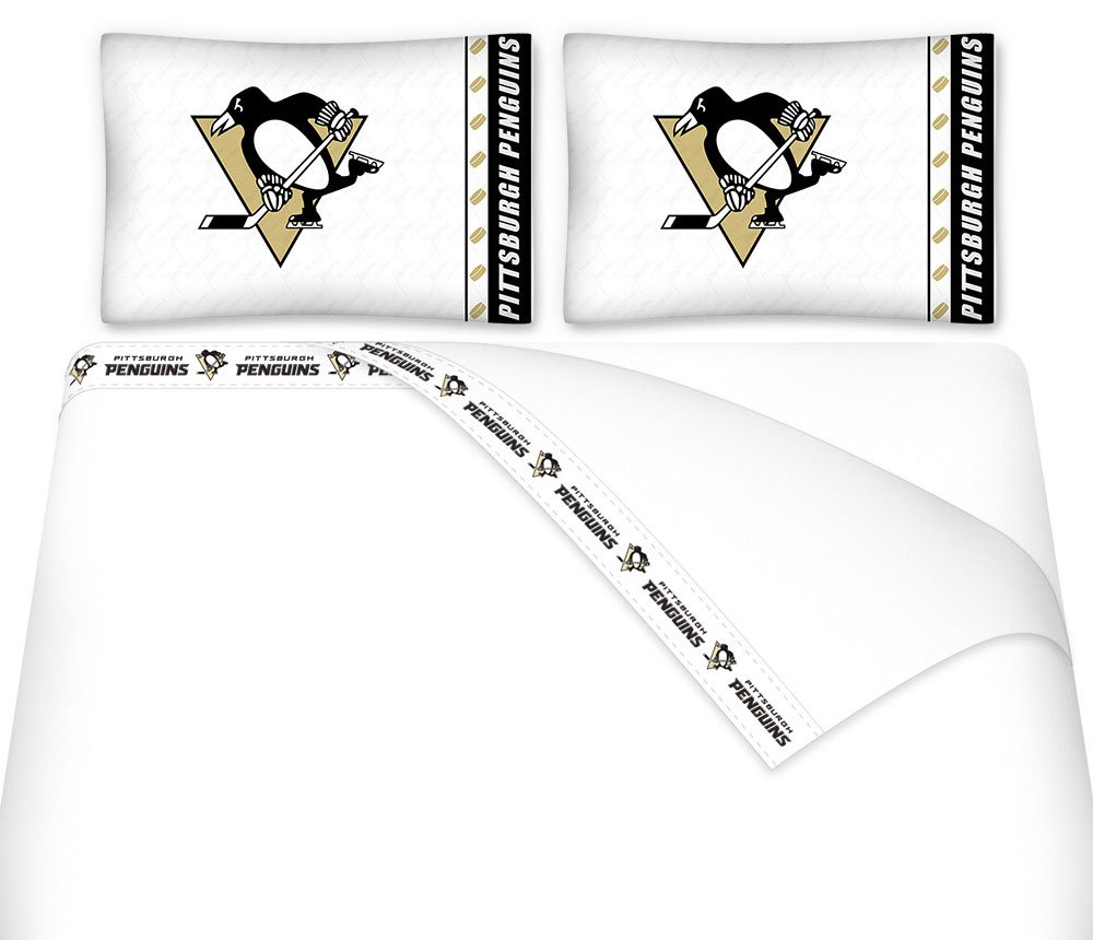 Amazon Com Nhl Pittsburgh Penguins Hockey 6pc Queen Bedding Set Home Kitchen