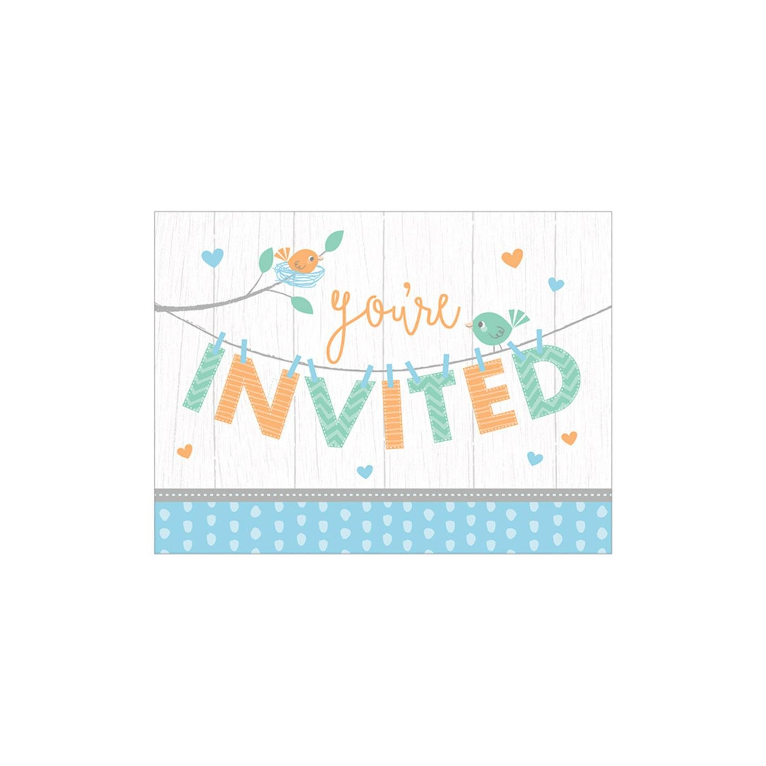 Party Central Pack of 48 White and Blue Hello Baby Invitation Place Cards 8.5''