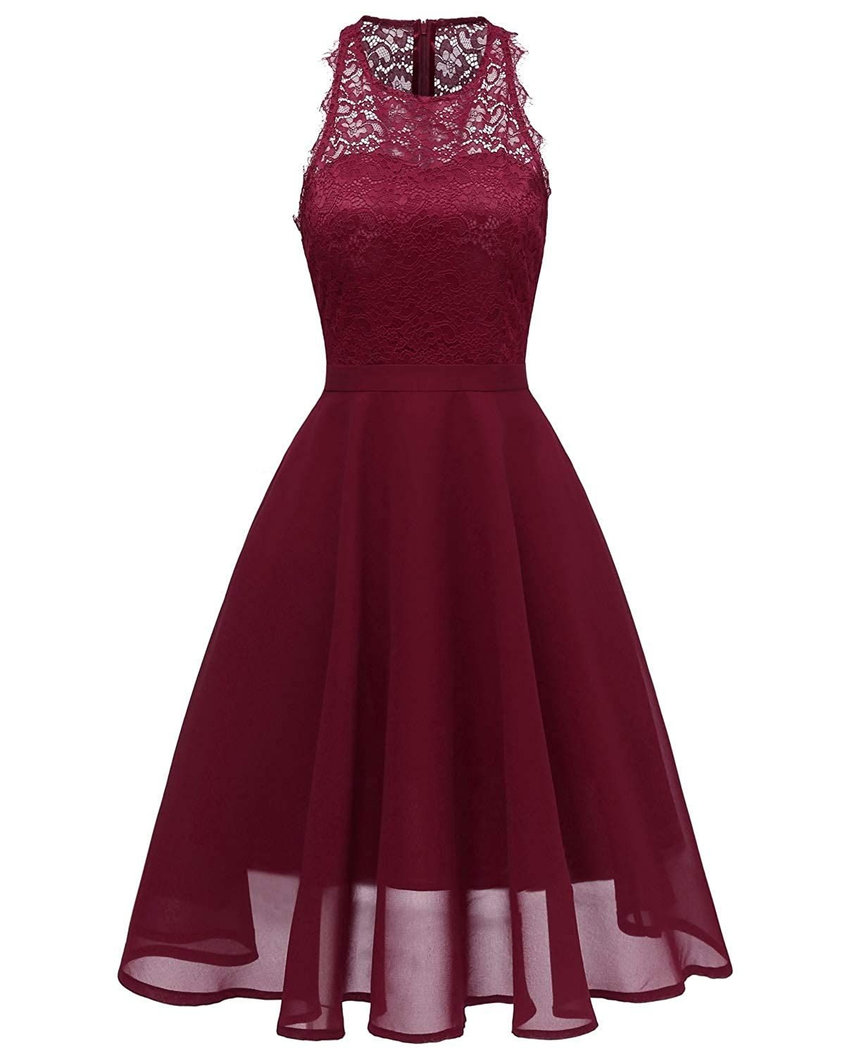 Wine Red Zooka Vintage Floral Lace Off Shoulder Pink Dress Women High Low Hem Midi Party Robe