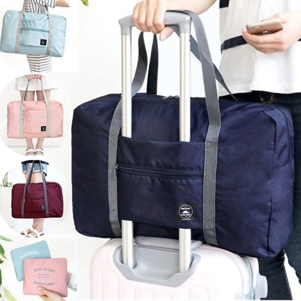 Wine Red Yimosecoxiang Elegant Foldable Large Duffel Bag Luggage Storage Bag Waterproof Travel Pouch Tote Bag