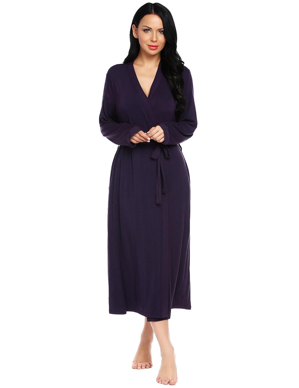 Adome Bath Robes Womens Soft Knit Sleepwear Kimono Collar Long Loungwear S-XXL