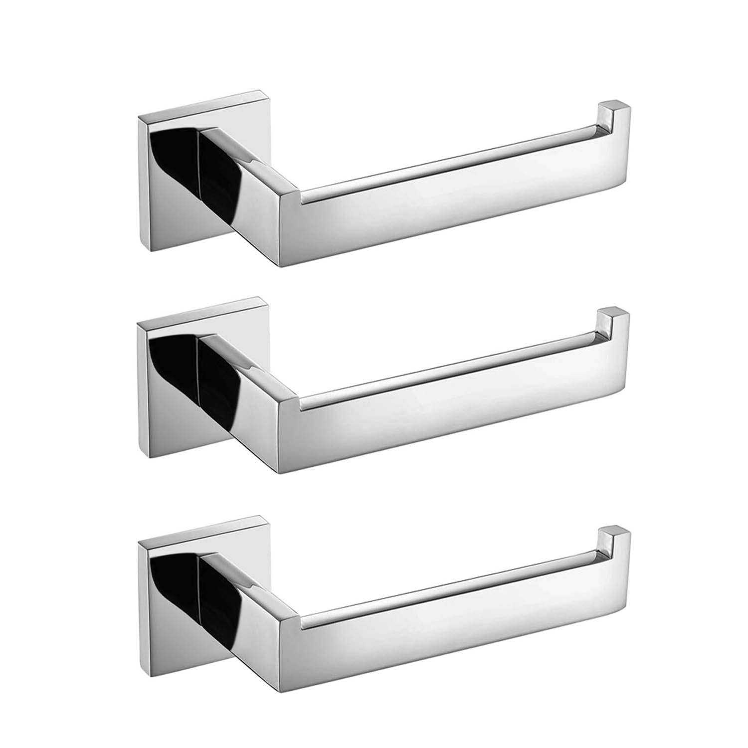 3pcs Luxury 304 Stainless Steel Chrome Finished Toilet Paper Holder Roll Quadrate Wall Mounted Mirror Polished Bathroom Accessories