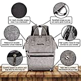 Baby Diaper Bag Backpack Organizer - Multi-Function Designer - Wide Open Tote Bag for Mom Dad Boys & Girls - Insulated Pocket for Bottle Storage - Changing Pad - Waterproof - Gray