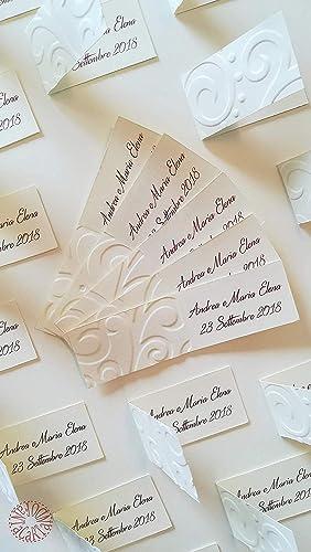 Bigliettini Bomboniere Matrimonio.Fantacartando Kit 10 Bigliettini Bomboniere Con Decorazione In