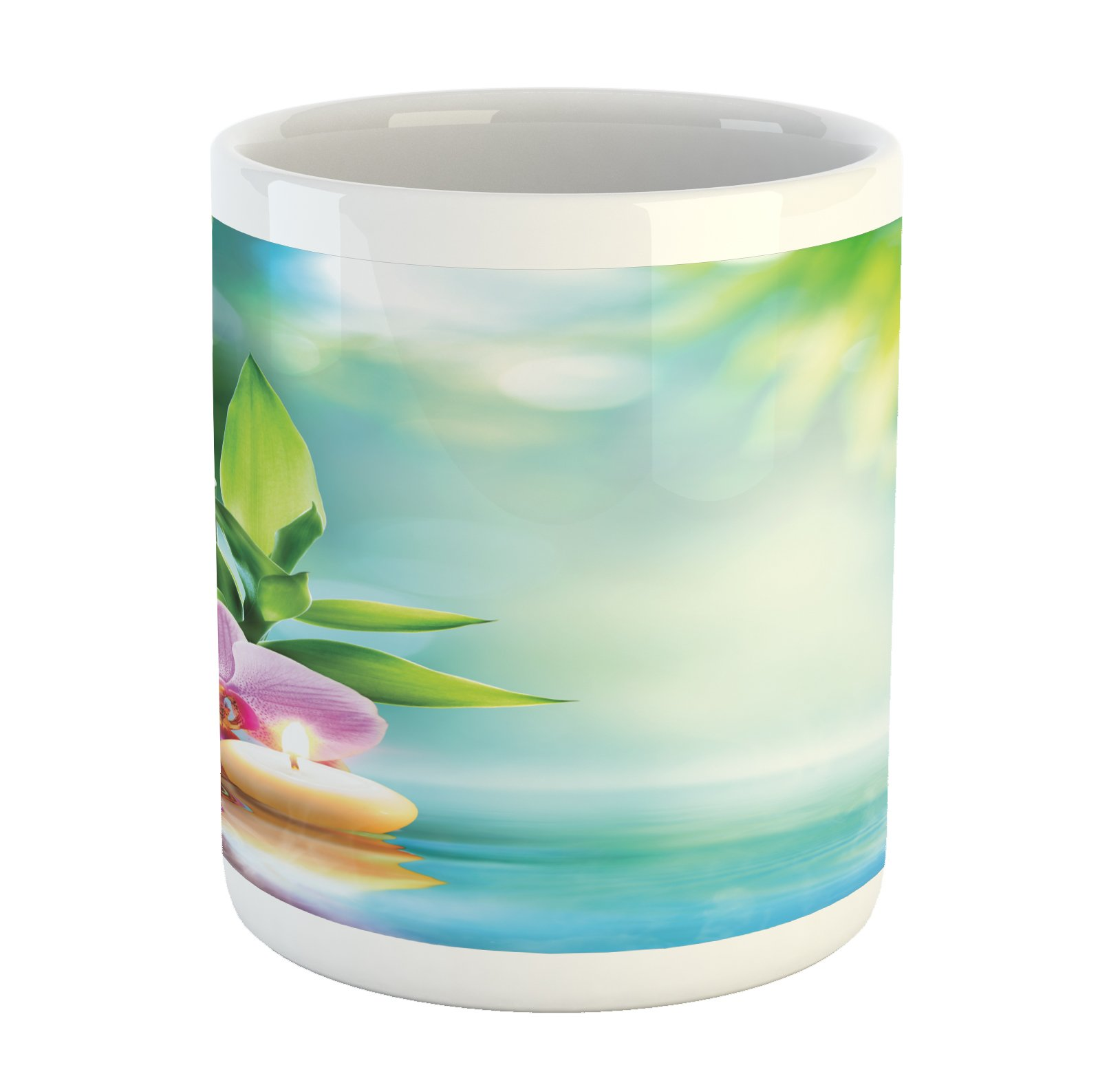 Ambesonne Spa Mug, Symbolic Spa Features with Candle and Bamboos Tranquil and Thoughtful Life Nature Print, Printed Ceramic Coffee Mug Water Tea Drinks Cup, Multicolor