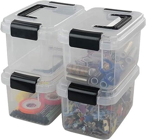 Dehouse Mini Caja de plástico con cierre de almacenamiento, 2 L, Transparente, 4 paquetes: Amazon.es: Hogar