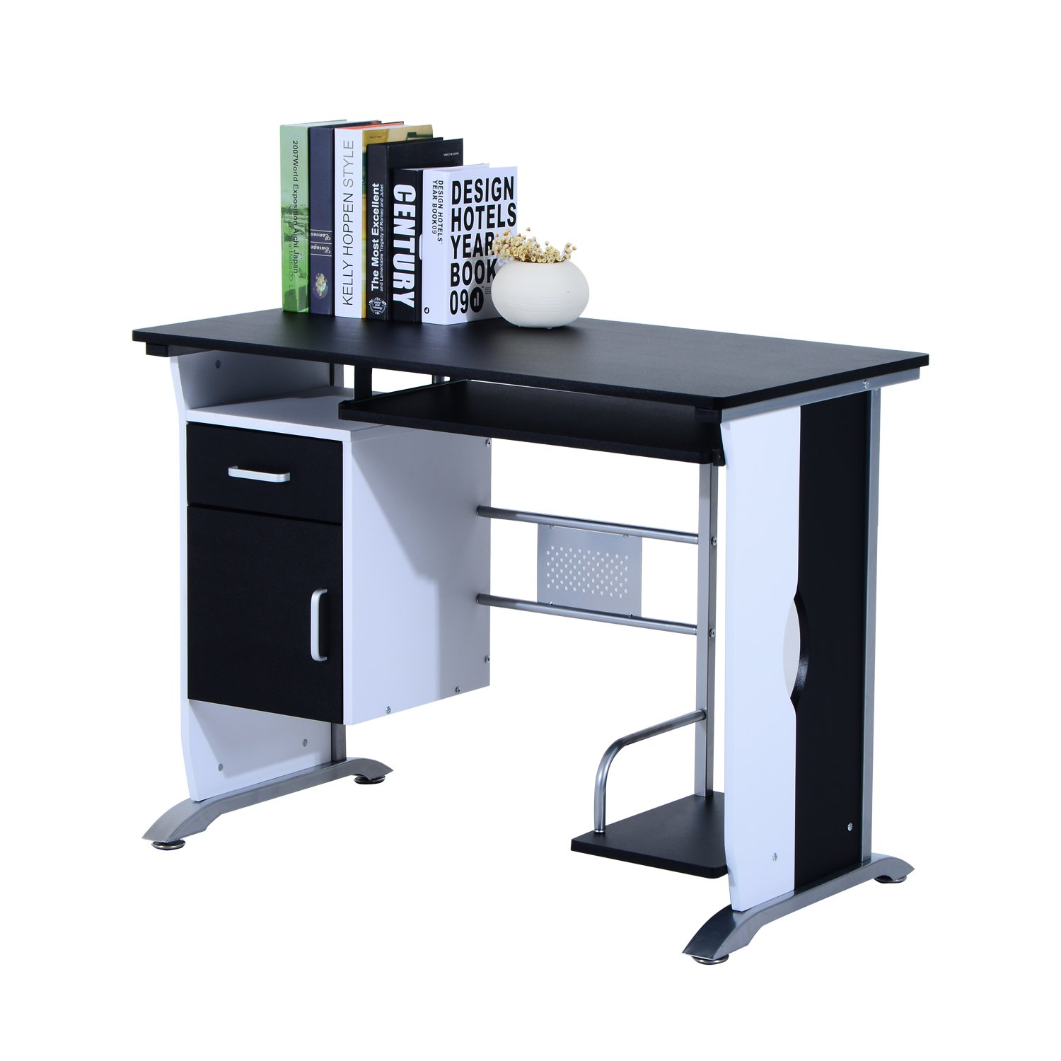 products table desk top keyboard computer modern shelf furniture glass goplus new office