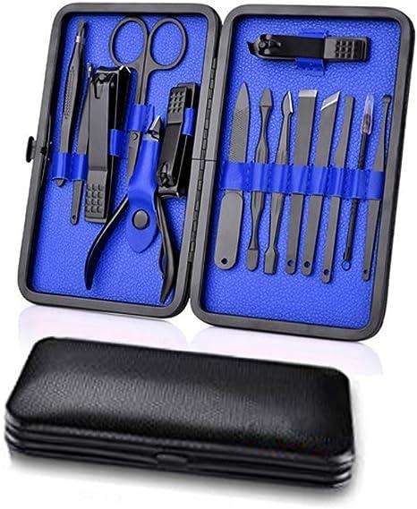 ROYWY Profesional Cortaúñas Acero Inoxidable Grooming Kit,Kit Manicura y Pedicura Cortaúñas, Set de 15 Piezas para Manicura y Pedicura Limpiador Cutícula (Azul): Amazon.es: Deportes y aire libre