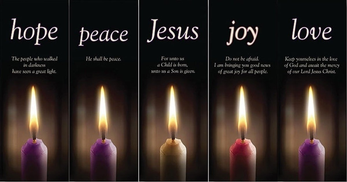 Hope Peace Joy Love and Jesus Advent Banner Set of 5, 63 Inch (Banners Only)